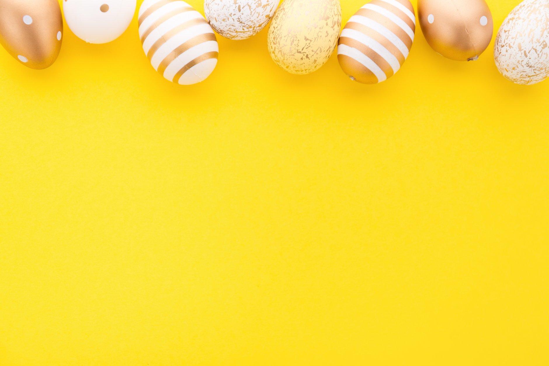 bigstock-Easter-Flat-Lay-Of-Eggs-On-Yel-289324942